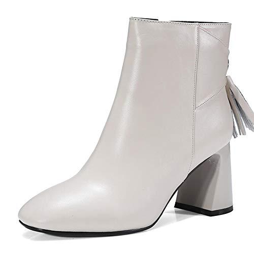 Quadrat White Dicken High Damenstiefel Heels Winter Plus Kopf Tassels Herbst Mit Size und Stiefel Kurz Damenstiefel KUKI Stiefel C14qn1