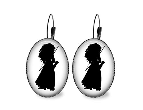 (Merida Silhouette Oval Earrings- Black)
