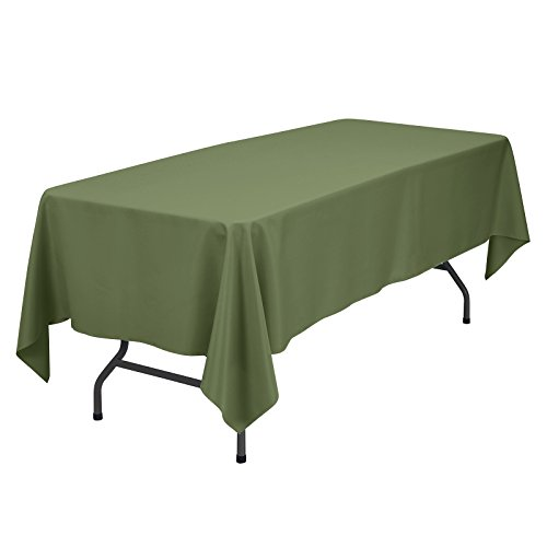 VEEYOO Rectangular Tablecloth 100% Polyester Oblong Table Cloth for Bridal Shower - Solid Soft Oval Table Cover for Wedding Party Restaurant Party Buffet Table (Olive, 60x102)