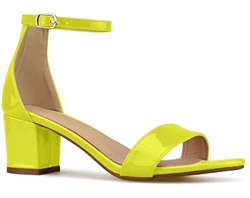 Bella Marie Women's Strappy Open Toe Block Heel Sandal, Neon Yellow, Size 9
