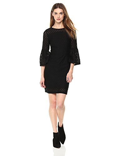 Painted-Heart-Womens-34-Bell-Sleeve-Allover-Lace-Fit-and-Flare-Midi-Dress