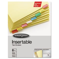 (6 Pack Value Bundle) WLJ54130 Gold Pro Insertable Tab Index, Multicolor 8-Tab, Letter, Buff - Pro Index Gold Tab