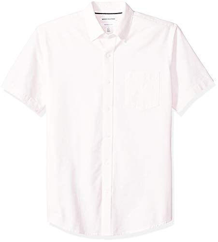 Amazon Essentials Men's Regular-Fit Short-Sleeve Pocket Oxford Shirt, Pink Stripe, ()