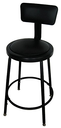 Dakota Designs 5NWH4 Round Stool, Backrest, Seat Ht 24-33 In