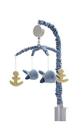 Nautica Kids Brody Nautical/Whale/Anchor Nursery Crib Musical Mobile, Light Blue/Yellow -