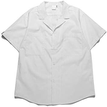 DXHNIIS Cuello Redondo Camisa Vintage Hombre Manga Corta Verano Color sólido Camisas Retro Hombres 4 Colores M Camisa Blanca: Amazon.es: Deportes y aire libre