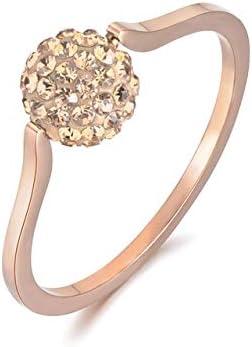 JZESIDE Anillo Exquisito Color de Oro Rosa Anillos de Boda Joyería Anillo de Cristal de Diamantes de imitación de Acero Inoxidable para Mujer Chica