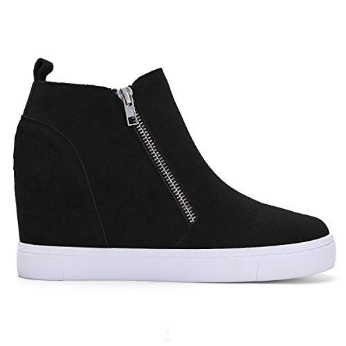 Athlefit Women's Hidden Wedge Sneakers Platform Booties Casual Shoes Size 7 Black (Shoes Wedge Women Boots)
