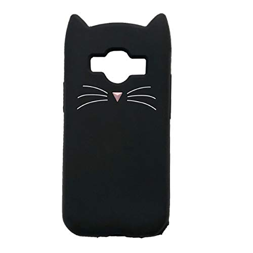Samsung Galaxy J1 2015/J1 ACE/Core Prime G360/ Prevail LTE Case, iFunny Cute 3D Cartoon Animals Fortune Beard Cat Shockproof and Protective Soft Silicone Rubber Phone Case (Beard Cat Black)