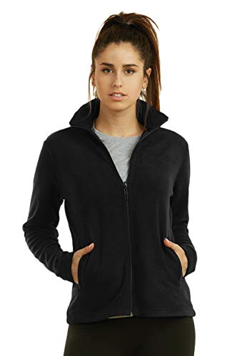 (Sofra Women's Polar Fleece Full Zip Up Winter Jacket (L, Black))