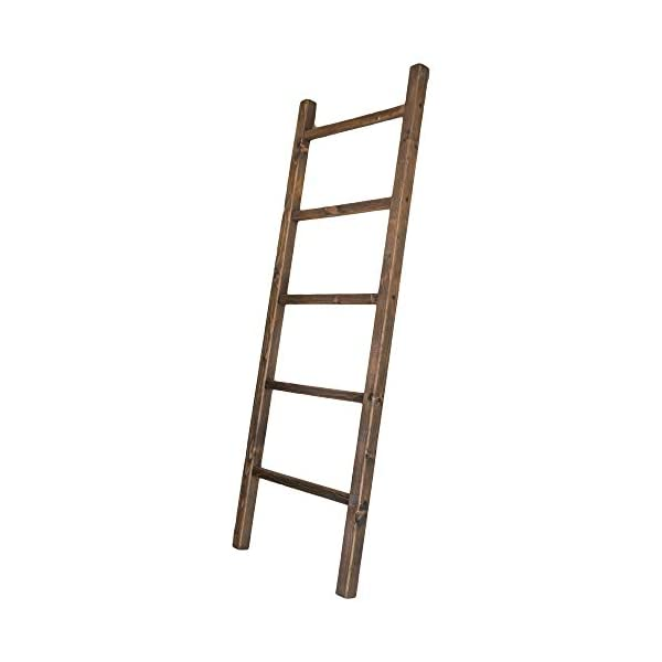 Blanket Ladder Shelf Rustic Farmhouse Home Decor Wooden 5 Foot , Made In The USA To Display Blankets, Quilts, Towels and…