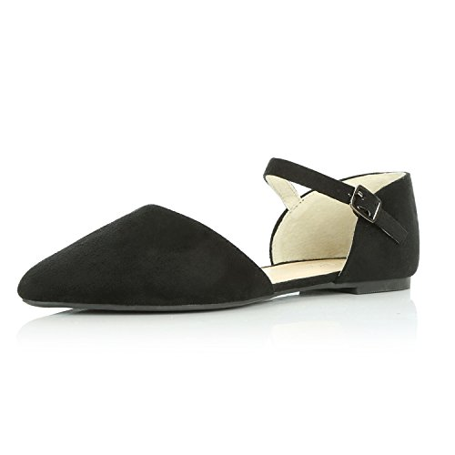 DailyShoes Women's Pointy Toe Flats D'Orsay Buckle Ankle Strap Casual Comfort Ballerina Ballet Flat Shoes, Black Suede, 7.5 B(M) US by DailyShoes