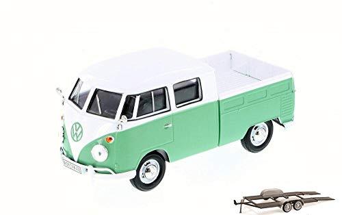 Diecast Car & Trailer Package - Volkswagen Type 2 Pick-Up Bus, Seafoam Green - Motor Max 79343 - 1/24 Scale Diecast Model Toy Car w/Trailer