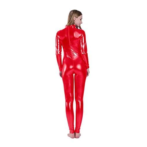 Kepblom Shiny Metallic Unitard Turtleneck Long Sleeve Footless Zentai Suit Catsuit Dancewear