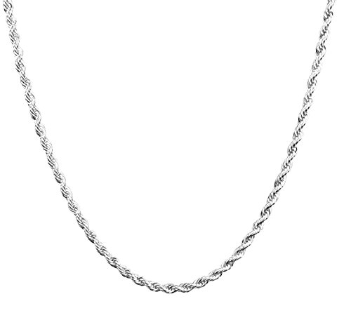 925 Sterling Silver 3mm Rope Chain - Available in 10