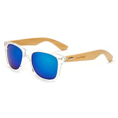 Long Keeper Bamboo Wood Arms Sunglasses for Women Men (Transparent, ()