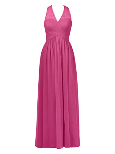 Neck Dress Prom Alicepub V Party Bridesmaid Tulle Women's Evening Long Dress Fuchsia Gown Iqv5wv