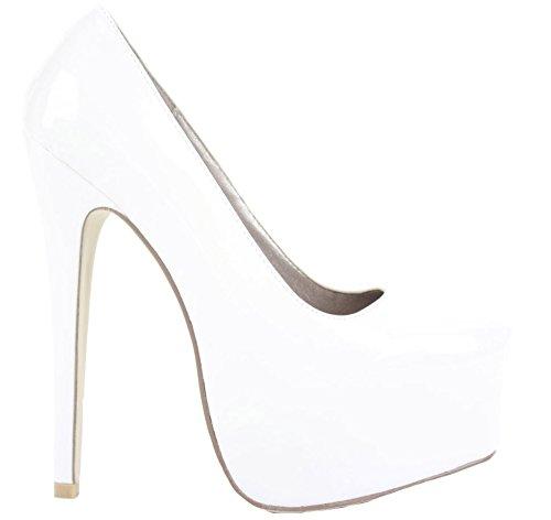Ladies Womens Work Platform High Heels Bridal Court Bridesmaid Stiletto Shoes Pumps Size 3-8 New White KT43ZrErb