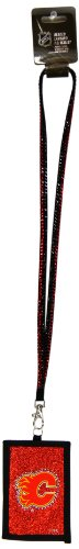 NHL Calgary Flames Beaded Lanyard with Nylon Wallet]()