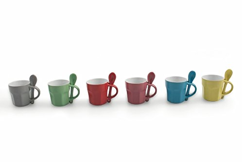 Villa Deste Home Tivoli Colors Set Of 6 Coffee Cups With Spoon