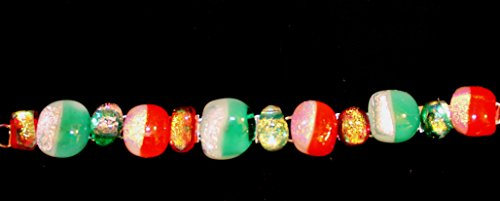 - Christams green and red Dichroic glass bracelet on silver plate