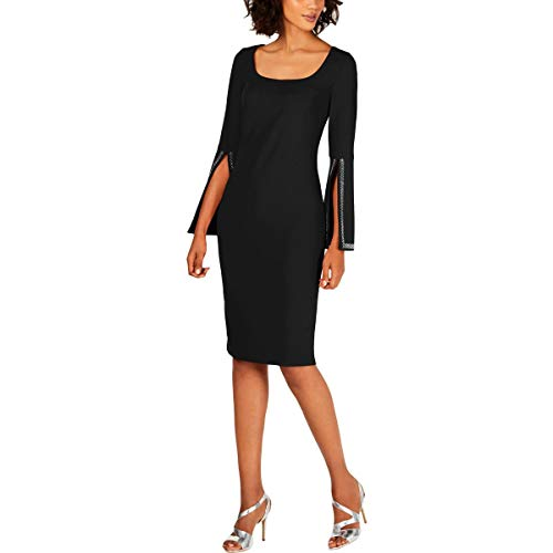 Calvin Klein Women's Square Neck Sheath with Embellished Split Sleeve, Black, 8