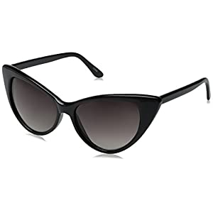 zeroUV - Super Cateyes Vintage Inspired Fashion Mod Chic High Pointed Cat-Eye Sunglasses (Black / Gradient) 54mm