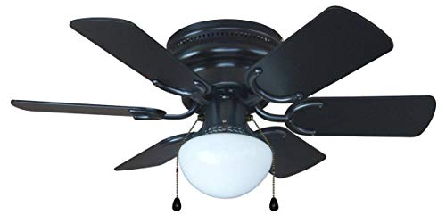 Hardware House 23-5389 Arcadia 30-Inch Black Flush Mount Ceiling Fan, Black or Light Maple Blades Blade 30 Inch Ceiling Fan