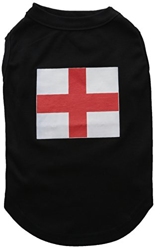 Mirage Pet Products 14-Inch St. George's Cross English Flag Screen Print Shirt for Pets, Large, Black ()