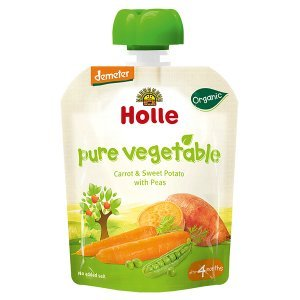 Holle Organic Baby Food Pure Vegetable Pouch Carrot Sweet Potato and Peas 90g