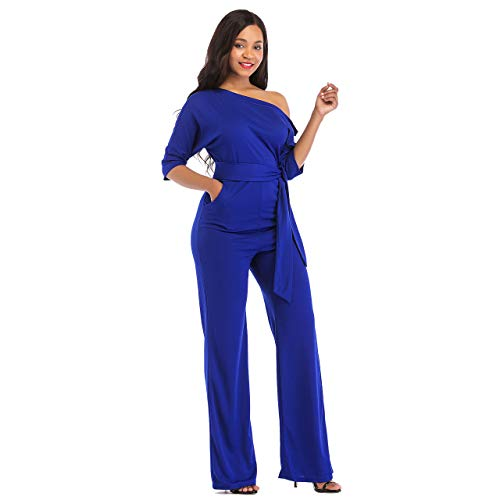 One Shoulder Jumpsuits for Women Elegant Night Sexy Casual Summer Rompers Shorts Wide Leg Long Pants Plus Size Belt Pockets Blue XL