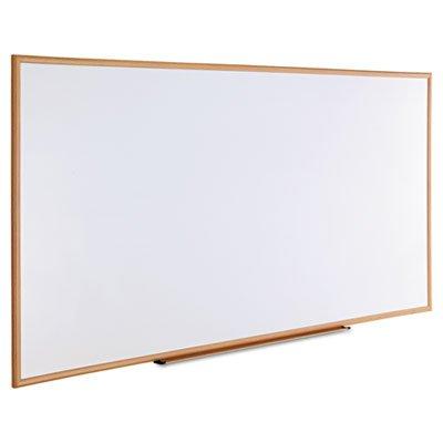 Dry-Erase Board, Melamine, 96 x 48, White, Oak-Finished Frame, Sold as 1 Each