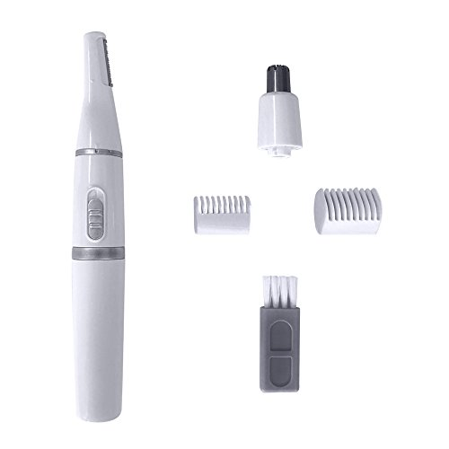Electric Nose & Ear Hair Trimmer Eyebrow Trimmer, Phiginoo 2 in 1 Battery Operated Facial Hair Shaver Removal Personal Hair Clipper for Men and Women(White)