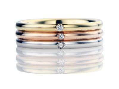 Platin Addamas Herren-Ring aus massivem Platin mit 18 Karat GelbGold, 0,06 Karat natürlicher Diamant, feiner Schmuck für den Vatertag