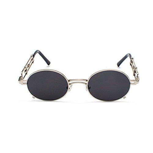 Gafas Yefree Hombres marco mujeres Gafas metal de de Gafas de Tono gafas y de Negro de Circular de recubrimiento Plata sol sol Espejo rnqYxr8