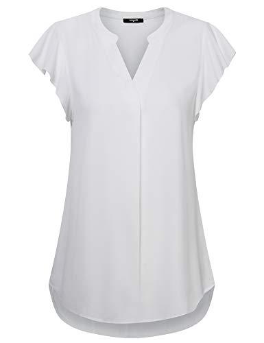 Lotusmile Womens Chiffon Blouse for Work Henley V Neck Pleat Tunic Top Short Ruffle Sleeve Casual Shirt White XL ()