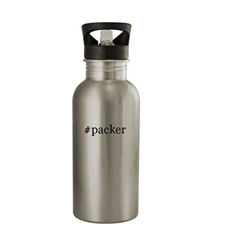 Knick Knack Gifts #Packer - 20oz Sturdy Hashtag Stainless Steel Water Bottle, Silver