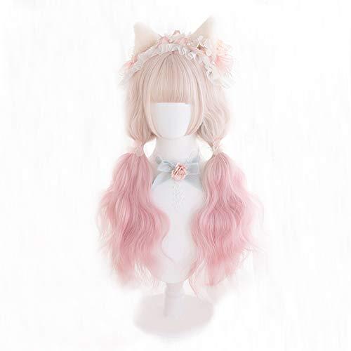 KONNIQIWA Lolita Wig 65cm Long Wavy Gradient Pink Cute Party Wigs for Women Girls