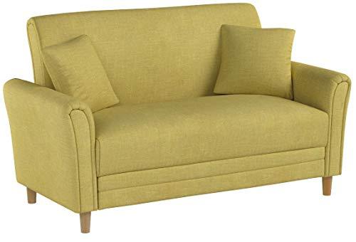 Divano Roma EXP103-2S-YELL Modern 2 Tone Small Space Linen Fabric Loveseat (Yellow)