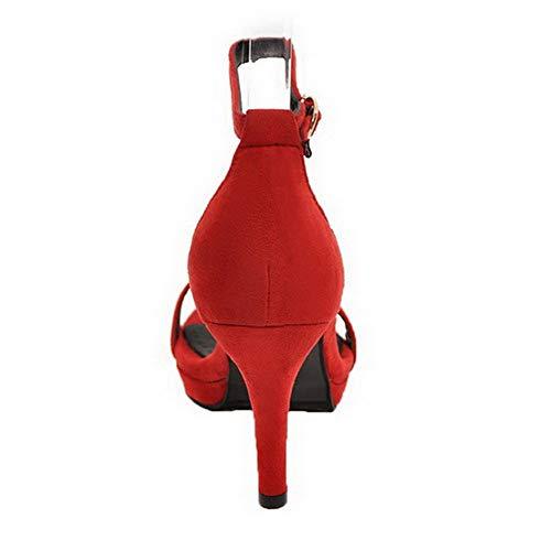 Unie d'orteil GMBLB015665 Sandales Haut à Femme Boucle Ouverture Talon Rouge Couleur AgooLar EXpfCwxfq
