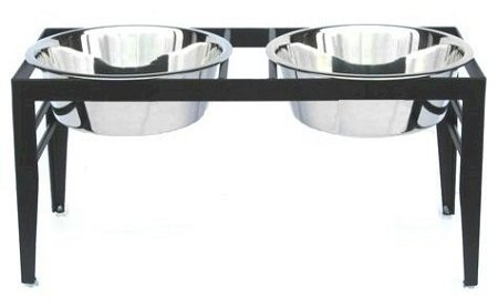 Chariot Double Elevated Dog Bowl – Large/Black – RDB19-L, My Pet Supplies