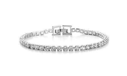 (AUBREY LEE Round Cubic Zirconia Tennis Bracelet for Women in Rhodium Plated Brass (White))