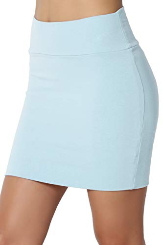 TheMogan Junior's Stretch Cotton Jersey Lined Bodycon Tube Mini Skirt Baby Blue L