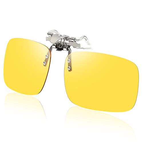 Duco Polarized Clip-on Night Vision Glasses Over Prescription Eyeglass Flip up Glasses Anti-Glare UV400 for Night Driving (Clip 1)