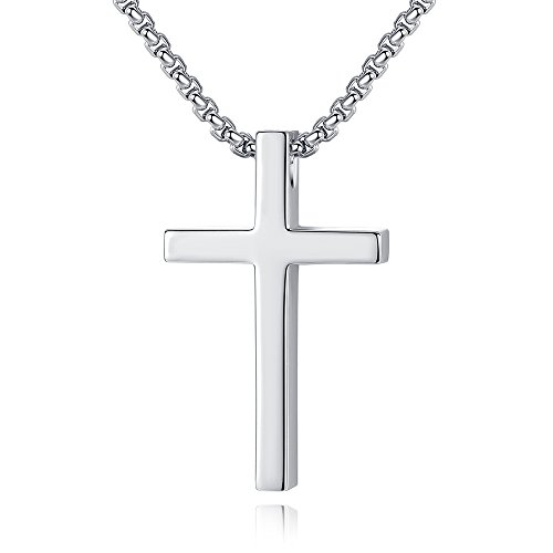 (Reve Simple Stainless Steel Silver Tone Cross Pendant Chain Necklace for Men Women, 20''-22'' (Women:1.20.7'' Pendant+20'' Rolo Chain))