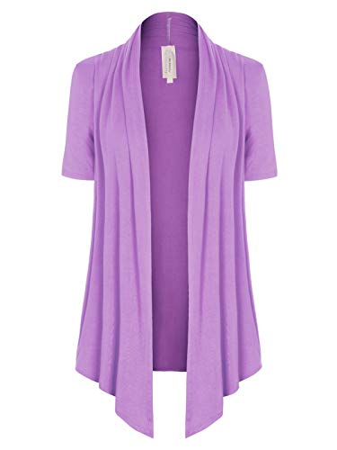 MixMatchy Women's [Made in USA] Solid Jersey Knit Short Sleeve Open Front Draped Cardigan (S-3XL) Lavender L