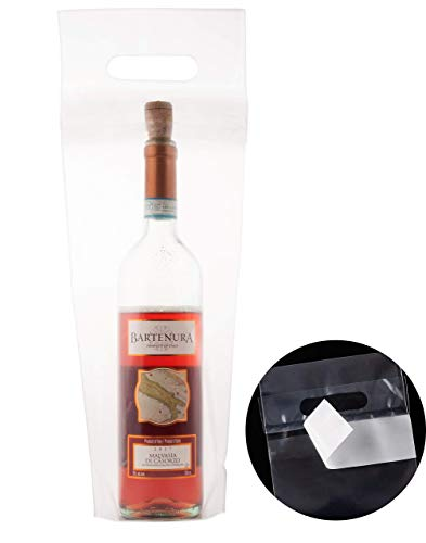 Wine Doggy Bags- 50 Pack Clear Take Home Wine Bottle Bags With Tamper Proof Seal For Restaurants & Bars 6.5