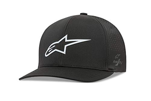 (Alpinestars Men's Logo Flexfit tech hat, cuvred Bill Structured Crown, Ageless Lazer Black, LXL)