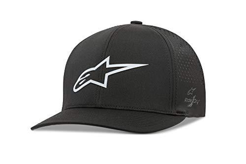 Alpinestars Men's Logo Flexfit tech hat, cuvred Bill Structured Crown, Ageless Lazer Black, S/M