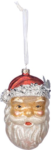Primitives By Kathy 2.50 Inches x 4.50 Inches Glitter Metal Glass - Santa Face Decorative Hanging Ornaments